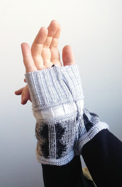 Organic Arm Warmer Texting Gloves in Black + Blue Rib -  - Arm Warmers - Bliss Joy Bull - 2
