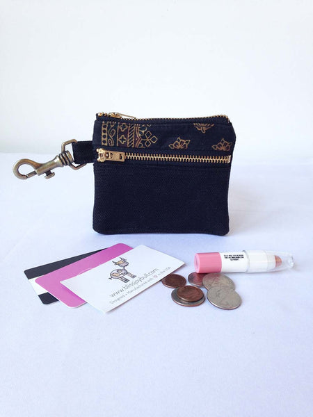 Waxed Slim Wallet - Black + Gold -  - Bag - Bliss Joy Bull - 5