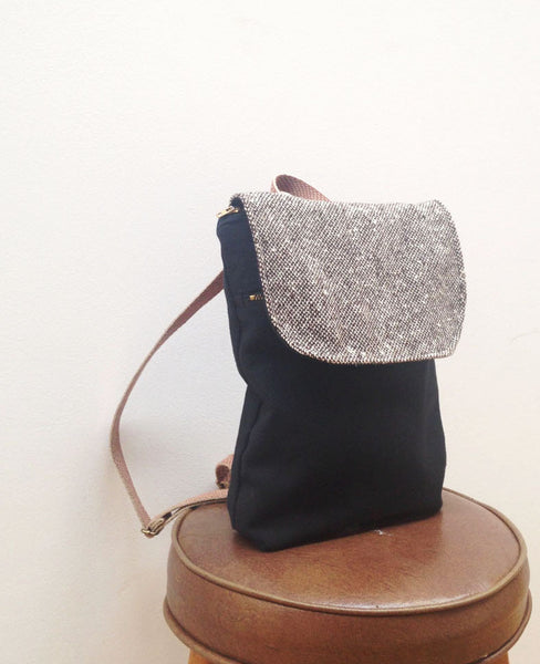 Mini Backpack Purse in Black and Tweed - Black + Tweed - Bag - Bliss Joy Bull - 1