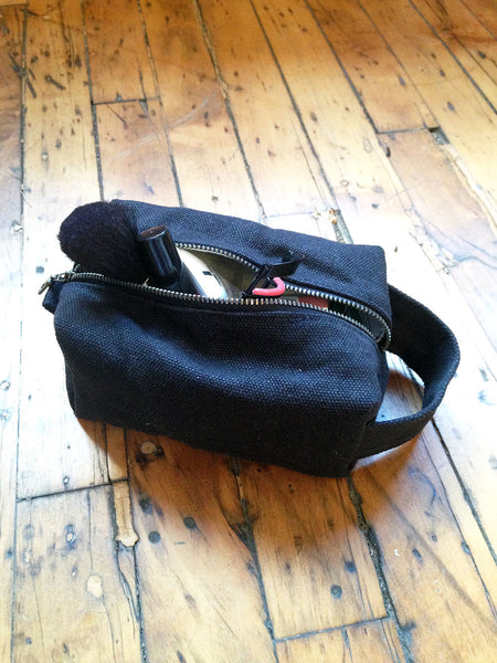 Two Toned Small Waxed Canvas Toiletry Bag Dopp Kit -  - Bag - Bliss Joy Bull - 5
