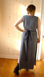 Load image into Gallery viewer, Vintage Speckled Black Maxi Dress - Split Grecian Gown -  - Vintage Dress - Bliss Joy Bull - 4