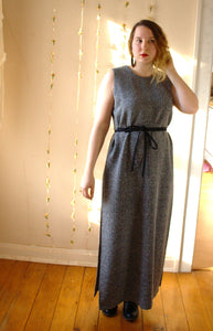 Vintage Speckled Black Maxi Dress - Split Grecian Gown -  - Vintage Dress - Bliss Joy Bull - 2