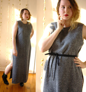 Vintage Speckled Black Maxi Dress - Split Grecian Gown -  - Vintage Dress - Bliss Joy Bull - 1
