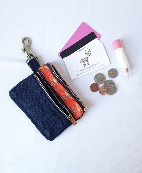 Waxed Slim Wallet - Blue + Orange -  - Bag - Bliss Joy Bull - 1