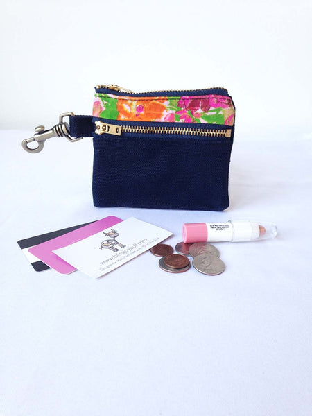 Waxed Slim Wallet - Blue + Floral -  - Bag - Bliss Joy Bull - 5