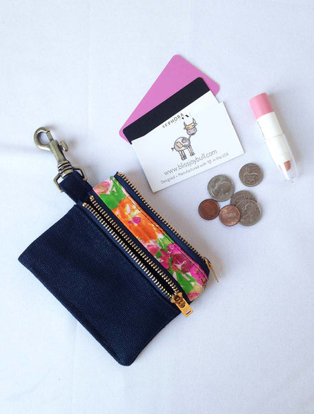 Waxed Slim Wallet - Blue + Floral -  - Bag - Bliss Joy Bull - 1
