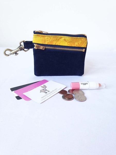 Waxed Slim Wallet - Blue + Yellow -  - Bag - Bliss Joy Bull - 1