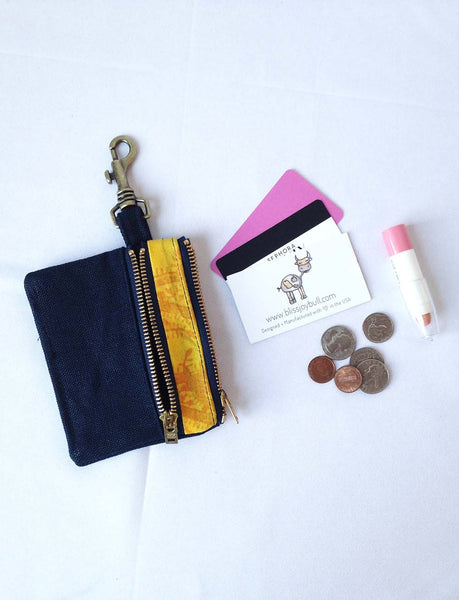 Waxed Slim Wallet - Blue + Yellow -  - Bag - Bliss Joy Bull - 5