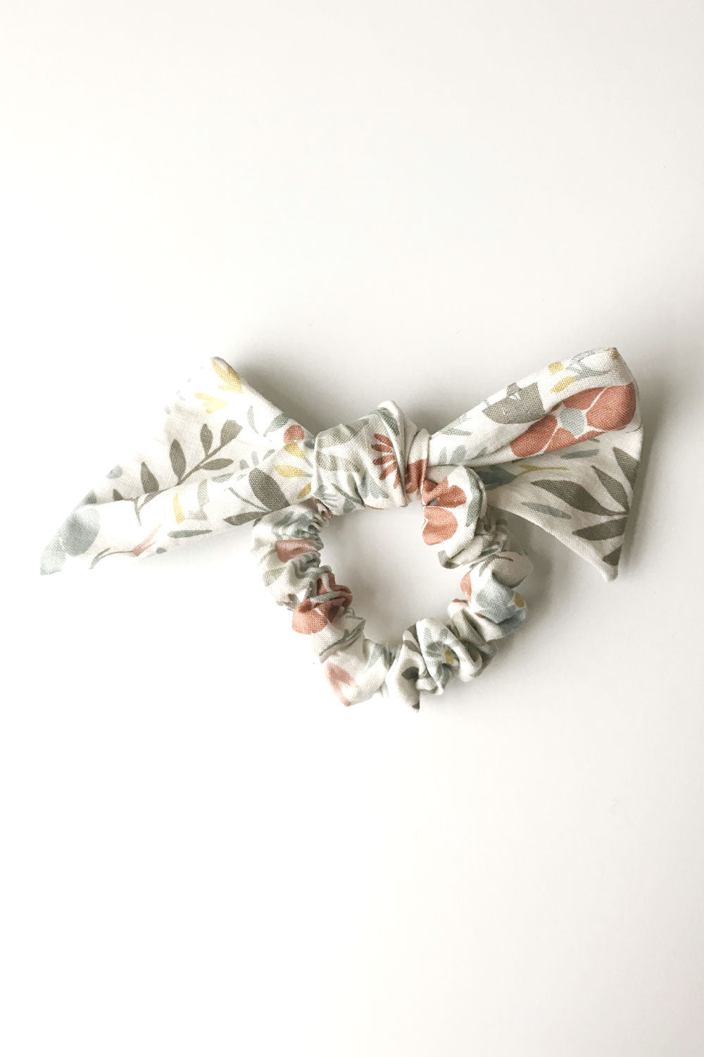 angelica bloom bow scrunchie - muted colored flowers on cream background