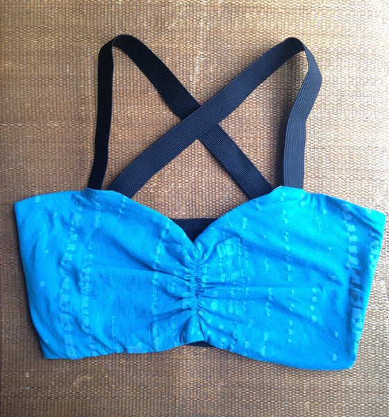 Bandeau Bra Top: Turquoise + Black -  - Tops + Bandeaus - Bliss Joy Bull - 5