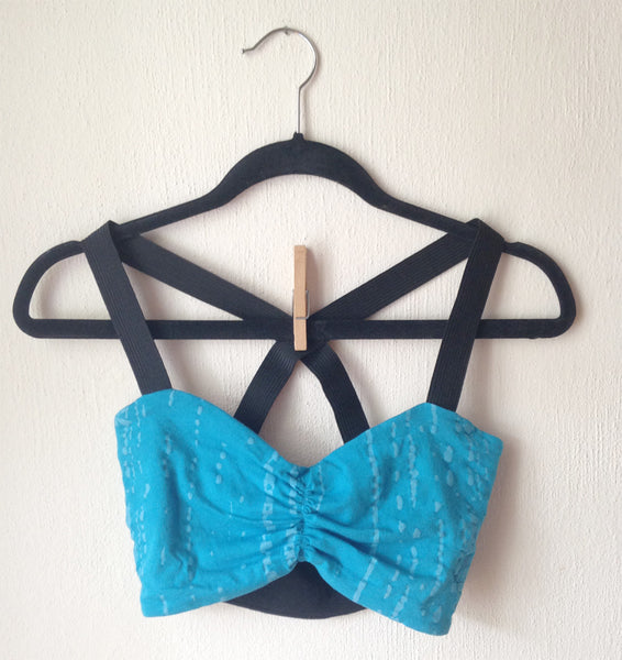 Bandeau Bra Top: Hand Dyed Blue, Maroon, Green + Black -  - Tops + Bandeaus - Bliss Joy Bull - 4