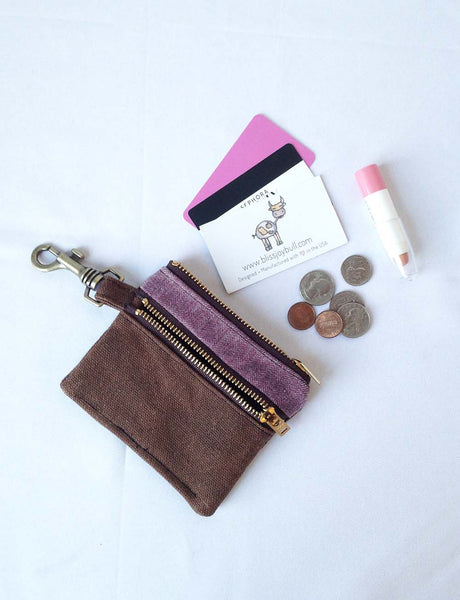 Waxed Slim Wallet - Brown + Purple -  - Bag - Bliss Joy Bull - 1