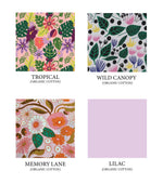Load image into Gallery viewer, Hand warmer color options: Tropical (floral in purple, pink, green and neon green on pink background), Wild Canopy (floral in pink, yellow, blue and green on white background), Memory Lane (retro 70's print in pink, orange, green, and brown), and Lilac (light purple).
