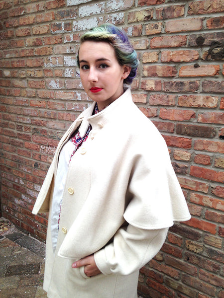 Vintage Cream Wool Capelet Coat -  - Vintage - Bliss Joy Bull - 6
