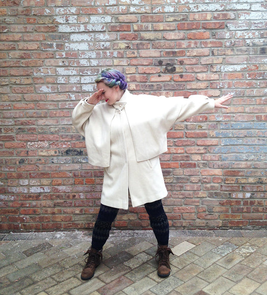 Vintage Cream Wool Capelet Coat -  - Vintage - Bliss Joy Bull - 1