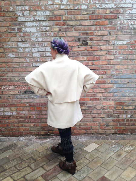 Vintage Cream Wool Capelet Coat -  - Vintage - Bliss Joy Bull - 7