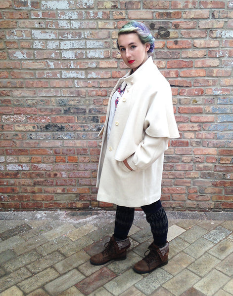 Vintage Cream Wool Capelet Coat -  - Vintage - Bliss Joy Bull - 5