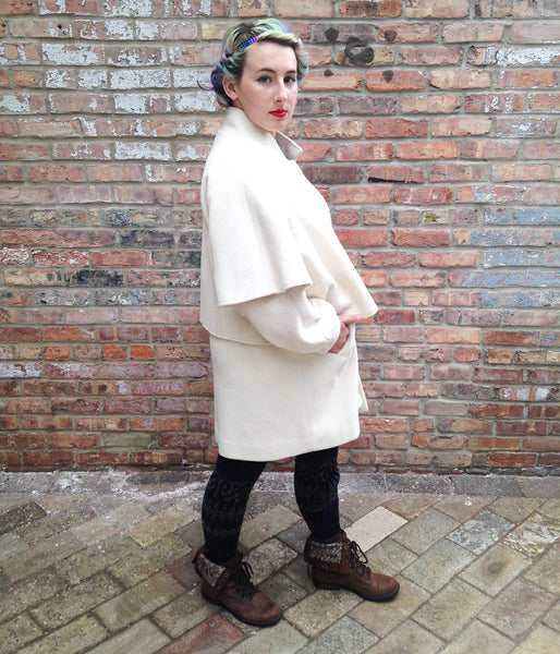 Vintage Cream Wool Capelet Coat -  - Vintage - Bliss Joy Bull - 2