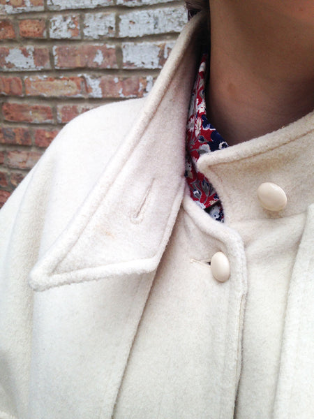 Vintage Cream Wool Capelet Coat -  - Vintage - Bliss Joy Bull - 3