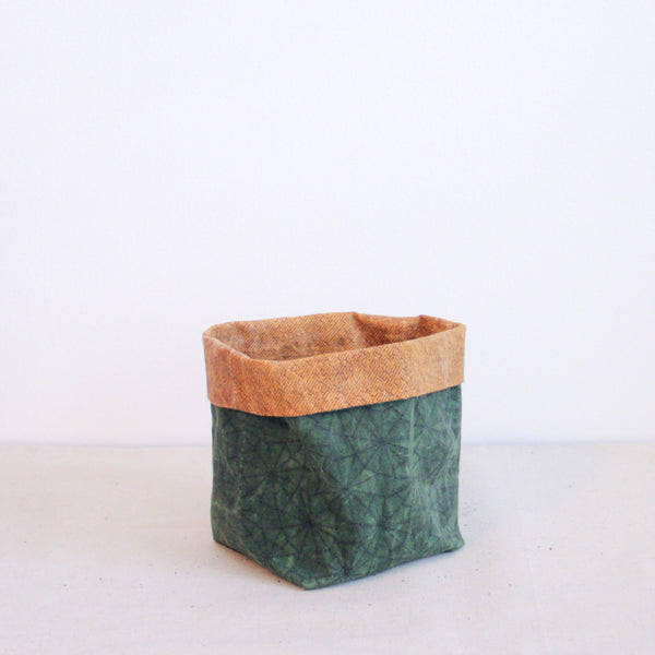 Waxed Canvas Plant Holder - Green + Gold