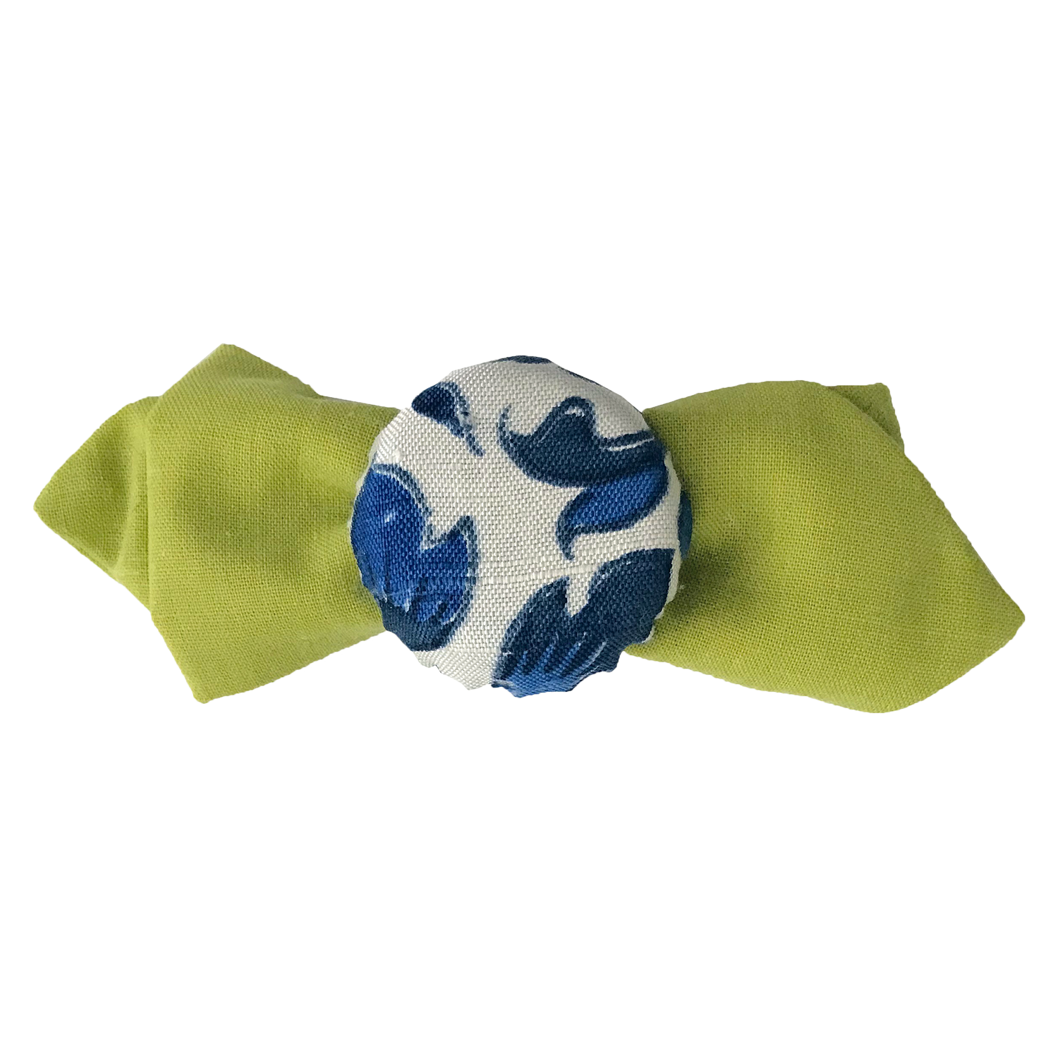 Hair pin in the shape of a mini lime green bow tie with blue and white flower print fabric covered bottle cap