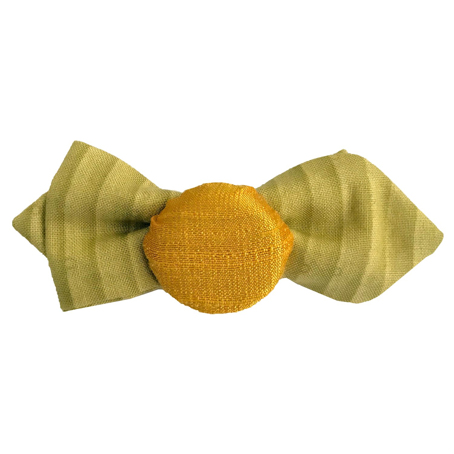 Hair pin in the shape of a mini lime green bow tie with yellow fabric covered bottle cap