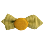 Load image into Gallery viewer, Hair pin in the shape of a mini lime green bow tie with yellow fabric covered bottle cap