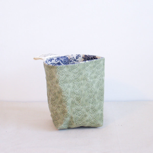 Waxed Canvas Basket - Blue Floral + Sage
