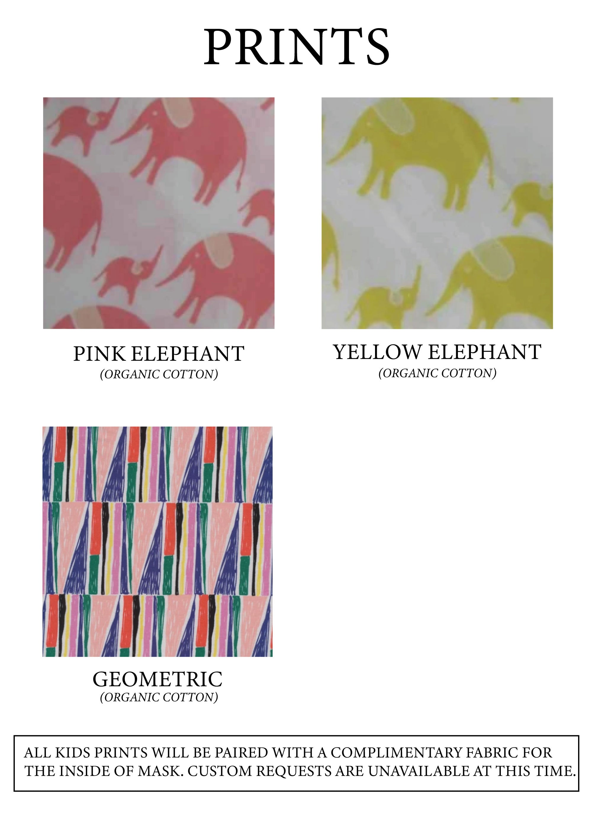 Print fabric options: Pink elephant, Yellow elephant, or Geometric