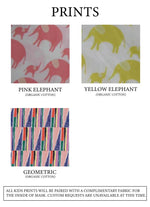 Load image into Gallery viewer, Print fabric options: Pink elephant, Yellow elephant, or Geometric