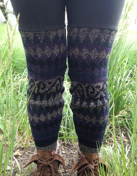 Sweater Leggings - Faux Thigh High - Purple Geometric -  - Leggings + leg warmers - Bliss Joy Bull - 2