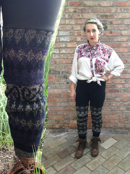 Sweater Leggings - Faux Thigh High - Purple Geometric -  - Leggings + leg warmers - Bliss Joy Bull - 1