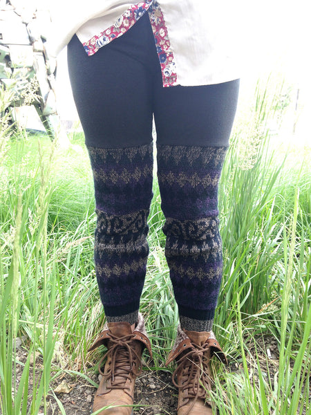 Sweater Leggings - Faux Thigh High - Purple Geometric -  - Leggings + leg warmers - Bliss Joy Bull - 3
