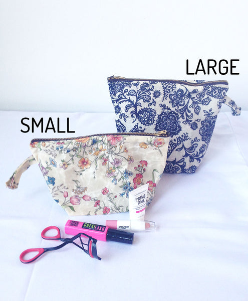 Medium or Large Waxed Makeup Bag: Floral -  - Bag - Bliss Joy Bull - 4