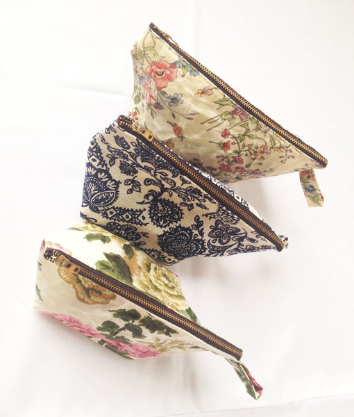 Medium or Large Waxed Makeup Bag: Floral -  - Bag - Bliss Joy Bull - 5