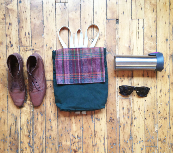 Mini Backpack Rucksack in Plaid + Maroon -  - Bag - Bliss Joy Bull - 2
