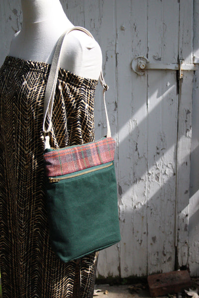 Waxed Canvas Crossbody Bag in Maroon Plaid and Forest Green -  - Bag - Bliss Joy Bull - 5