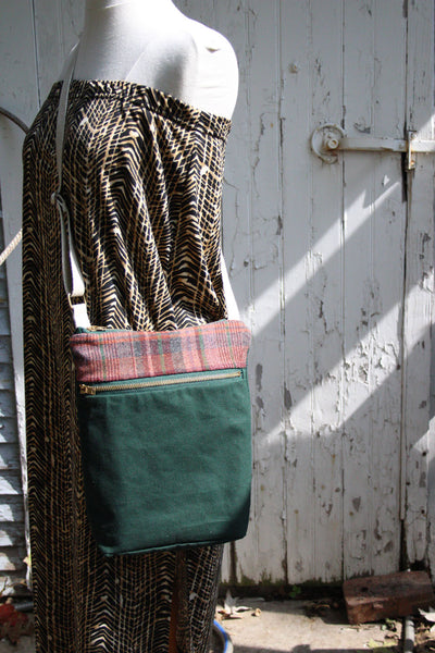 Waxed Canvas Crossbody Bag in Maroon Plaid and Forest Green -  - Bag - Bliss Joy Bull - 2