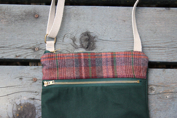 Waxed Canvas Crossbody Bag in Maroon Plaid and Forest Green -  - Bag - Bliss Joy Bull - 4