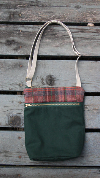 Waxed Canvas Crossbody Bag in Maroon Plaid and Forest Green -  - Bag - Bliss Joy Bull - 1