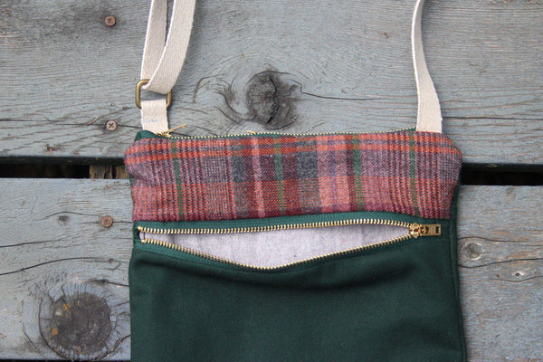 Waxed Canvas Crossbody Bag in Maroon Plaid and Forest Green -  - Bag - Bliss Joy Bull - 3