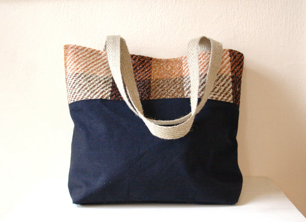 Waxed Canvas & Plaid Tote Bag -  - Bag - Bliss Joy Bull - 1