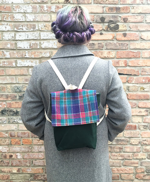 Mini Backpack Rucksack in Purple Plaid -  - Bag - Bliss Joy Bull - 5