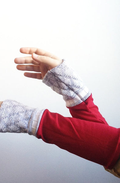 Organic Arm Warmer Texting Gloves in Red + Blue -  - Arm Warmers - Bliss Joy Bull - 2