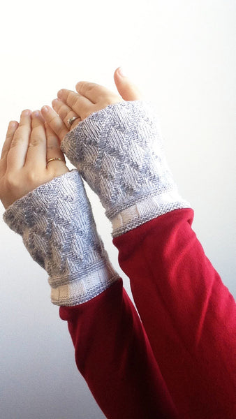 Organic Arm Warmer Texting Gloves in Red + Blue -  - Arm Warmers - Bliss Joy Bull - 3