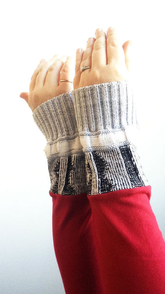 Organic Arm Warmer Texting Gloves in Red + Blue Rib - Red Stretch - Arm Warmers - Bliss Joy Bull - 1