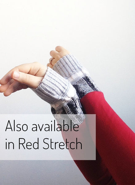 Organic Arm Warmer Texting Gloves in Black + Blue Rib - Red Stretch - Arm Warmers - Bliss Joy Bull - 5