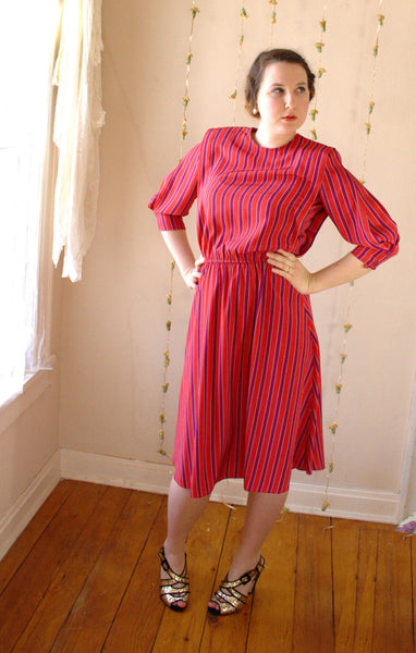 Vintage Striped Dress in Red, Purple, and Gold -  - Vintage Dress - Bliss Joy Bull - 3