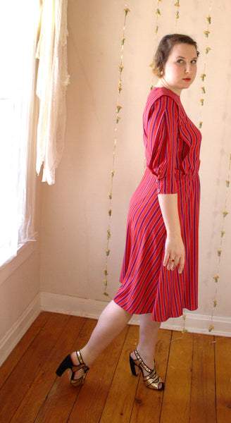 Vintage Striped Dress in Red, Purple, and Gold -  - Vintage Dress - Bliss Joy Bull - 4
