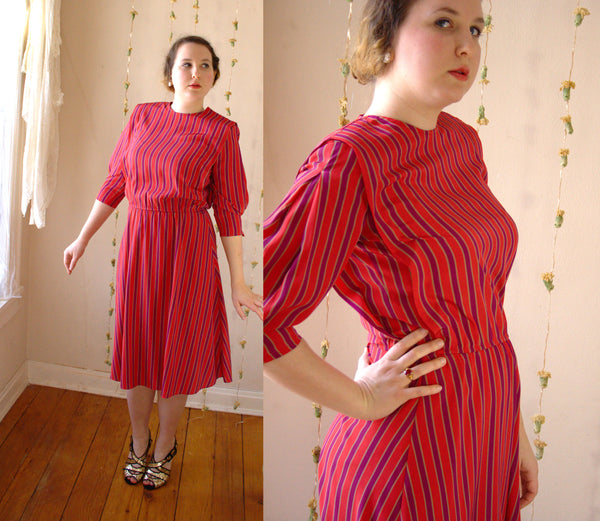 Vintage Striped Dress in Red, Purple, and Gold -  - Vintage Dress - Bliss Joy Bull - 1